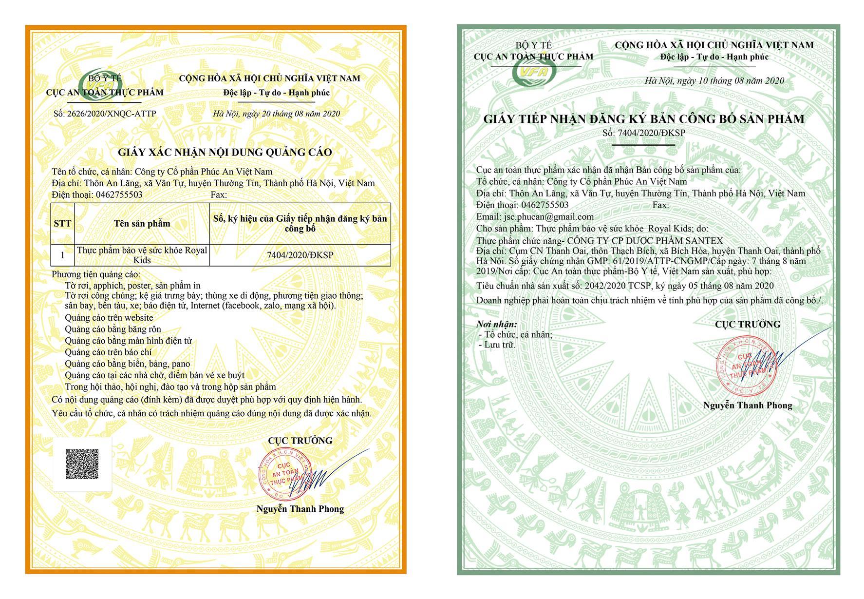 Bộ Y Tế cũng như cục An toàn Vệ sinh Thực phẩm đã cấp giấy chứng nhận an toàn vệ sinh thực phẩm cho Royal Kids
